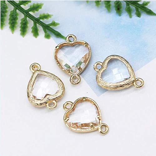 12pcs 10mm Corazón 2-loop Cristal de piedra natural rhinestone Facetado Cuarzo Enmarcado Pulsera colgante collar conector accesorio, claro