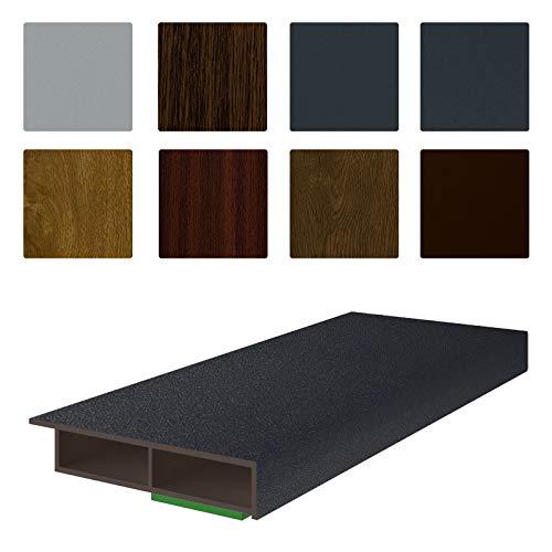 NOBILY *** Fenster/PVC Deckleiste Flachleiste Fensterleiste 50mm Breite x 7mm Höhe mit Überstand für Wandabschluss inkl. Schaumklebeband farbig - Länge 1950mm (5,08€ /m)- Farbe Anthrazitgrau glatt