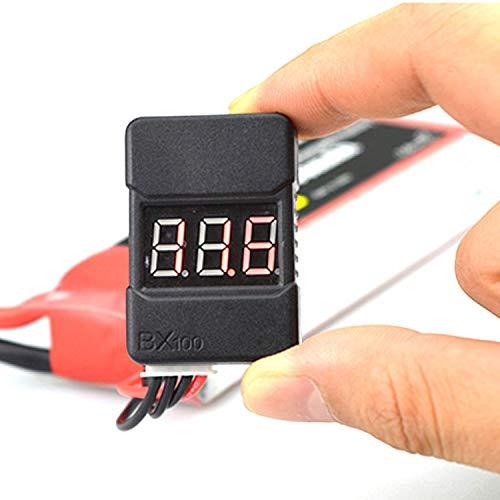 CALALEIE 2pcs / 1pc BX100 1-8S Lipo Batteriespannungsprüfer/Low Voltage Alarmton/Volta Tester RC Teile Zubehör (Color : 1 PC)