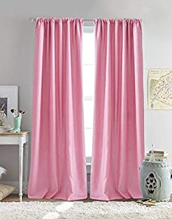 """Dream Factory Bliss 96"""" Rod Pocket Panel, inch Pair, Pink"""