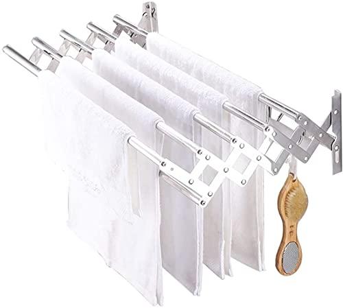 SSHA Tendedero De Pared Montaje en Pared Ropa de Secado Rack multifunción Acordeón Retráctil Retractable Estante for lavandería Cuarto de baño Tendedero Plegable Pared (Size : 60cm)
