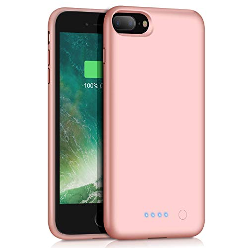 Battery Case for iPhone 7 Plus/ 8 Plus, 8500mAh Portable Battery Smart Battery Case for iPhone 7 Plus/ 8 Plus Portable Charging External Charger Cover 5.5 inch Charging Case - Rose Gold