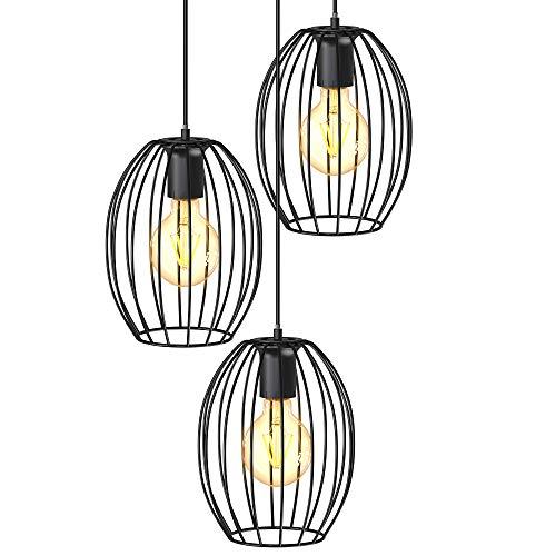 B.K.Licht I 3-flammige Draht-Pendelleuchte I E27 I Vintagelampe mit Metallschirm I 296x1390 mm I ohne Leuchtmittel I schwarz