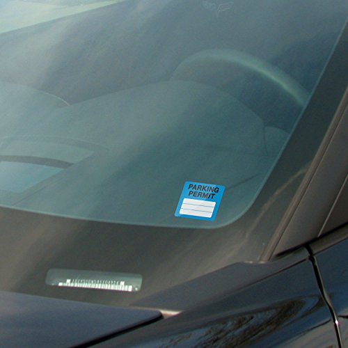 Parking Permit Pass Stock Static Cling Windshield Sticker Non-Adhesive for Employees, Tenants, Students, Businesses, Office, Apartments, by Milcoast, 10 Pack (Blue) Photo #2