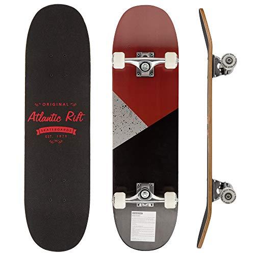 Deuba Atlantic Rift Skateboard Skate Board Komplettboard Deck Funboard Holzboard ABEC 9 80x24cm Ahornholz Farbauswahl