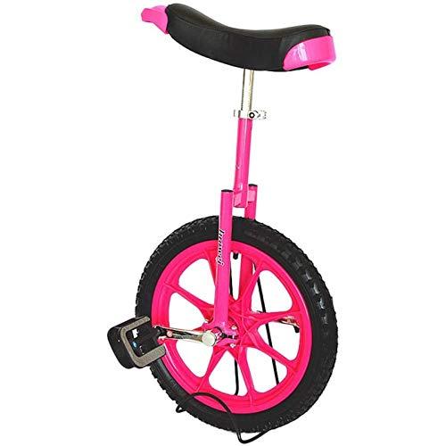 Lqdp Einrad 16-Zoll-Kinder-Einräder für 12 Jahre (Höhe von 1,1 Bis 1,4 m), Balance-Radfahren Im Freien für Kinder/Jugendliche/Kleine Erwachsene, mit Komfortsattel (Color : Pink)