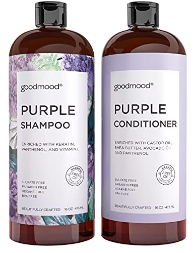 GoodMood Purple Shampoo and Conditioner Set For Blonde, Gray, Platinum...