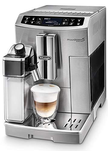 De'Longhi Primadonna S Evo ECAM 510.55.M Kaffeevollautomat mit Milchsystem, Cappuccino und Espresso auf Knopfdruck, 2,8 Zoll Touchscreen Display und App-Steuerung, Edelstahlgehäuse, silber