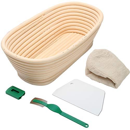Ahier Banneton Proofing Basket Oval, 10 inch Baskets Sourdough Brotform Proofing Basket Set with Liner+ bread scraper+ Lame for Making Beautiful Bread