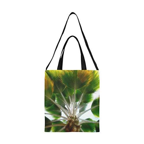 Mini bolsas de supermercado reutilizables Tree Palm Colombia Colombia Paño Bolsas de supermercado reutilizables Bolsa de ropa Impresión de gran tamaño Simple correa de hombro Crossbody Work School Sh
