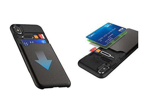 Funda iPhone X - KHOMO Carcasa Negra iPhone X (iPhone 10) con Tarjetero Oculto para Nuevo Apple iPhone X - Pandora Case Black