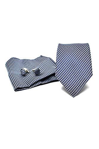 Corbata de hombre, Pañuelo de Bolsillo y Gemelos Azul Oscuro a Pata...