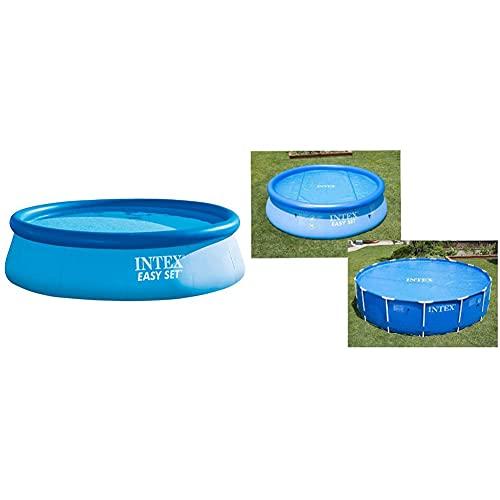 Intex 28130Np - Piscina Hinchable Easy Set 366 X 76 Cm, 5.619 litros + 29022 - Cobertor Solar para Piscinas 366 Cm De Diámetro