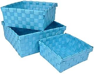 Douceur d'Intérieur 6GMB267BL Panier Tressé Set de 3 Bleu Océan