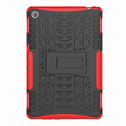 SHIEID Hülle für Huawei MediaPad M5 Lite (10 Inch)-Hülle Tough Hybrid Armor Hülle,Diese Handyhülle Anti-Wrestling Travel Essential Faltbare Halterung für Huawei MediaPad M5 Lite (10 Inch)(Rot)