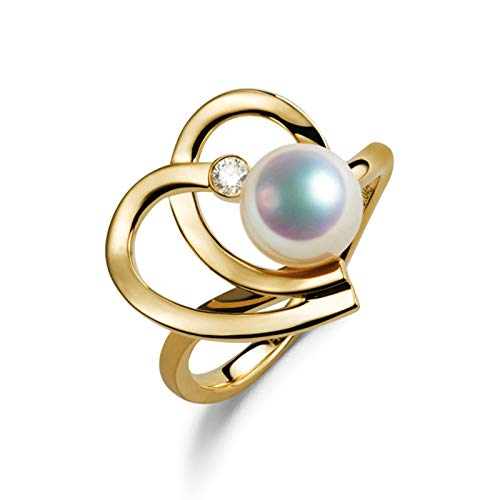 AmDxD 18K Yellow Gold Ring for Women, with 8MM Akoya Pearl Heart Rings for Women Valentines Promise Rings for Her Size L 1/2, Birthday for Women Mom Wife with Gift Box
