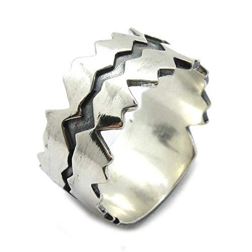 Echte Sterling Silber Extravaganter Ring 12 mm Breites Band Solide Punziert 925