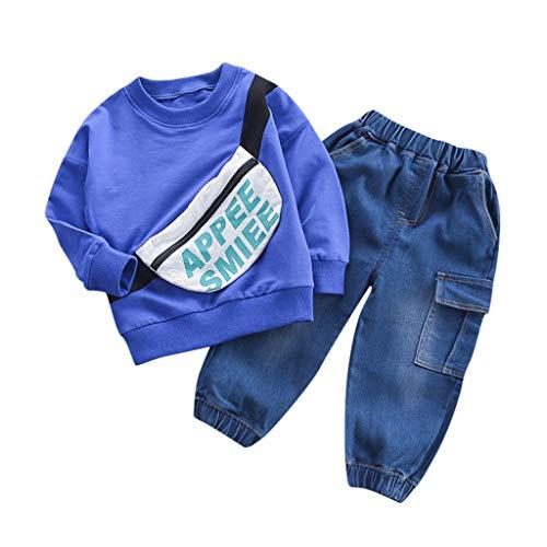 Hui.Hui Hoodies 2 Pièces Ensemble Bébé Sweat à Manches Longues Automne Tricot Pullover Tops Hiver Mode Pas Cher Tenues Vêtement pour Enfants 0-4 Ans
