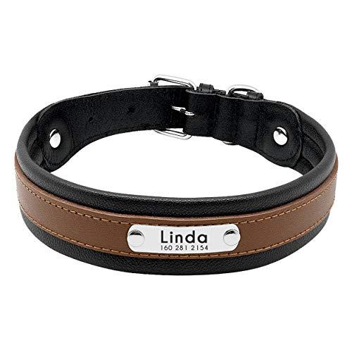 Pet Artist Hundehalsband aus Leder, mit Namensschild, personalisierbar, für große Hunde,  Größe M/L/XL in Schwarz, Blau, Braun, Hot Pink, Rot und Lila