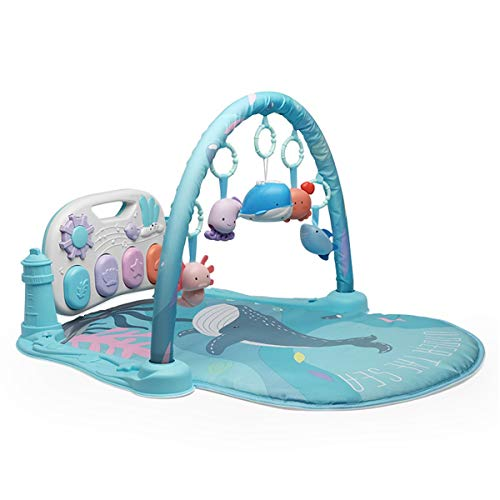 JIAGU Bambino Giocattolo Pedale Pianoforte Fitness Cornice Neonato Bambino Bambino Gioco Coperta Bambino 0-12 Mesi Game Pad (Color : Blue, Size : 46x95x74cm)