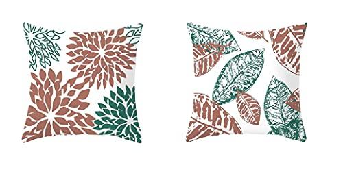 Zierkissenbezug Set Dekorativ 45x45cm Kissenbezug Modern Geometrisch Sofa Kissenhülle (2, Nature)
