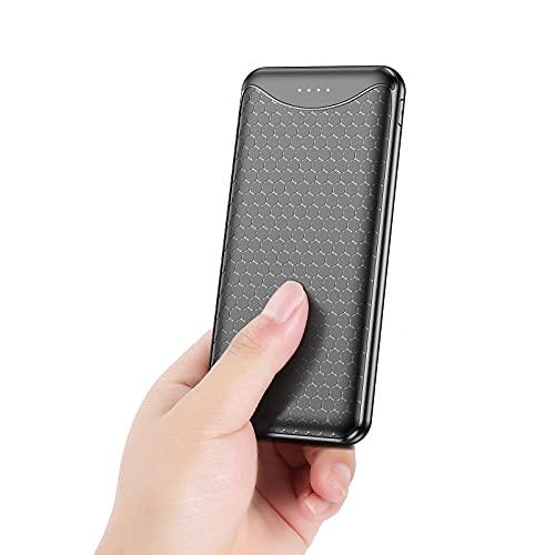 Vancely Powerbank 10000mAh,Caricabatterie Portatile, Ultra-Compact Batteria Esterna Carica Veloce Batteria Portatile con 2 USB Porte da 5V/3.4A e Micro+USB C per iPhone, Samsung, Huawei, Xiaomi