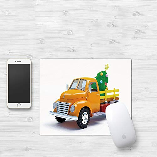 Gaming Mouse Pad, Christmas,Yellow Vintage Truck and Decorated Tree with Star Topper Old Farm Motor,White Yellow Green,Thick Waterproof Mouse Mat Gaming Functional Non-slip Rubber Base320x250mm