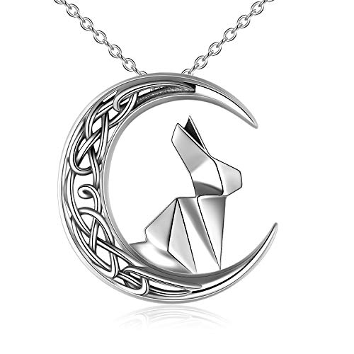Rabbit Necklace Sterling Silver Celtic Knot Moon Bunny Pendant Necklace Mothers Day Gifts for Women Mom