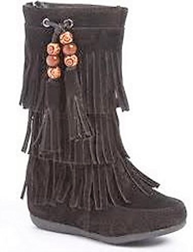 Dev Toddlers Girl Limma Moccasin 3-Layer Fringe Beaded Tribal Indian Winter Faux Suede Boot Shoes