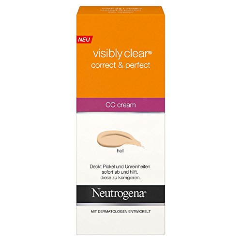 3x Neutrogena Visibly Clear CC Cream hell / je 50ml/ Correct & Perfect Creme/ Abdeckung Pickel +...