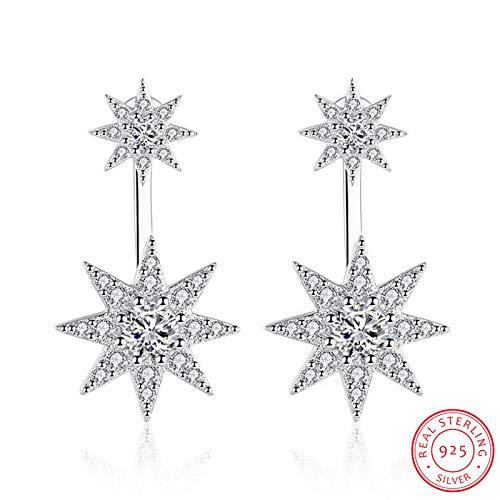 Mode 925 Sterling zilveren sprankelende kristallen zirkonia sterlamp piercing oorbellen voor vrouwen