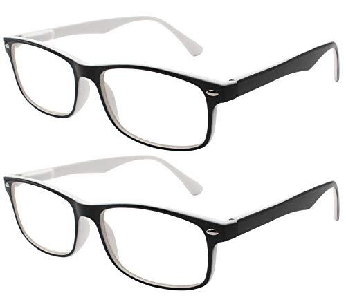 TBOC Gafas de Lectura Presbicia Vista Cansada - (Pack 2 Unidades) Graduadas +1.00 Dioptrías Montura de Pasta Bicolor Blanca y Negra Diseño Moda Hombre Mujer Unisex Lentes de Aumento Leer Ver Cerca