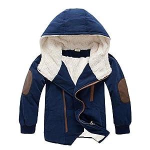 Mornyray 子供服 ジャケット コート 裏起毛 アウターウエア フード付き 防寒 冬 男の子 3-15歳 size 160 (ネイビー色)