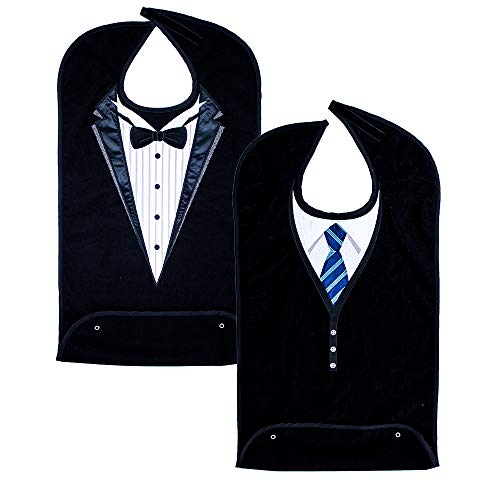 Classy Pal, Adult Bibs for Men, Dress 'n Dine Clothing Protectors for Eating, Senior Adult Bib Terry Cloth Crumb Catcher, Embroidered Design, Waterproof, Reusable, Washable (Blue Tie + Tuxedo)