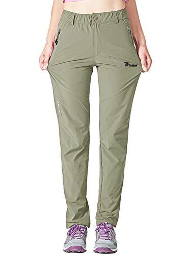 YSENTO Pantaloni da trekking da donna per attività all aperto, Quick Dry, leggeri, elasticizzati, con tasche con chiusura lampo verde chiaro M