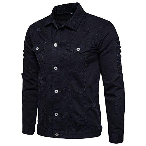 Realdo Mens Ripped Jeans Coat, Men's Solid Button Down Shirt Hole Denim Jacket Outwear(Medium,Black)