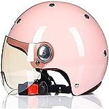 Medio casco de motocicleta Casco de cara abierta vintage Visera de sol de estilo retro Verano para hombres y mujeres Lindo eléctrico con scooter Casco de ciclomotor Certificado ECE,D,XL