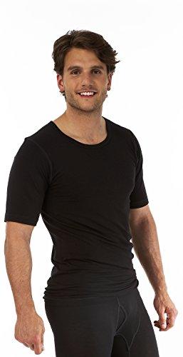 Palm® Homme invisible sans coutures à manches courtes col rond haut thermique couche de base - Gris - Medium