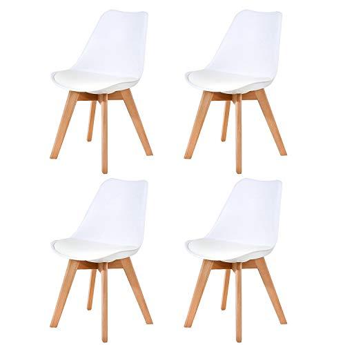 Ellexir Pack 4 sillas escandinava Estilo nórdico Silla de Comedor,Tulip Sillas de Comedor Sillas Cocina Estilo Nórdico Diseño Ergonómico,Madera/Acero/Polipropileno sillas(Blanco)
