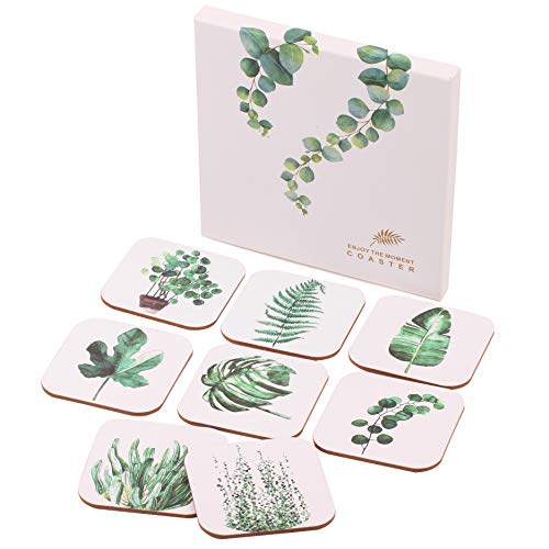benice Tropical Plant Leaf Boho Coasters for Drinks Set of 8 with Cute Coasters Box | Housewarming Hostess Warming Presents Decor, Wedding Registry, Living Room Decorations, Ideas (Green, 0.79)