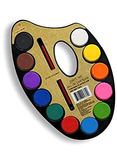 12 Colors Watercolor Paint Palette Set - Artist Paint Palette with Paint Brush, Educational School Art Supplies for Kids, Early Learning Art Tools for Kids