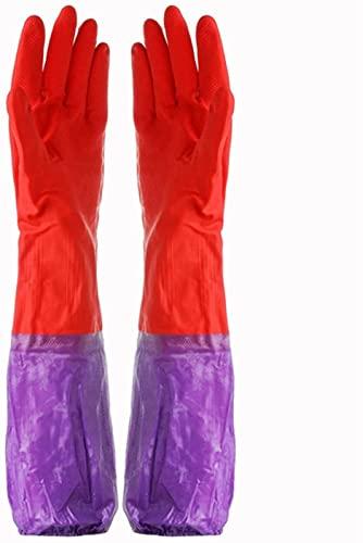 MUZIDP Banda de Terciopelo Largo Guantes de Invierno Guantes de Lavado de Platos para lavavajillas Guantes cálidos Impermeables (Color : Red)