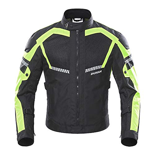 Yuyudou Motorrad Reitbekleidung, Frühling/Herbst Atmungsaktive Radjacke mit Rüstungsschutz, Sportjacke Mantel für Mann/Frau,Green,M
