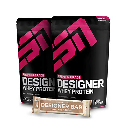 2 x 1000g. ESN Designer Whey + 1 x Gratis ESN Tasty Bar 2 x Double Chocolate