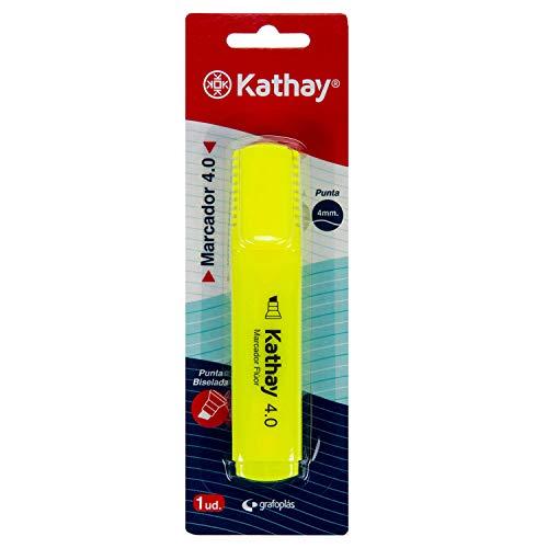 Kathay 86211860. Marcador Fluorescente, Color Amarillo, Punta Biselada 4mm