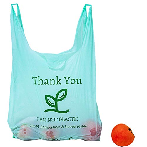 [100pc] Biodegradable Bags with Handles, Eco friendly Thank You Grocery Bags T-shirt Reusable and Disposable Grocery Bags - Measures 11.5' X 21'