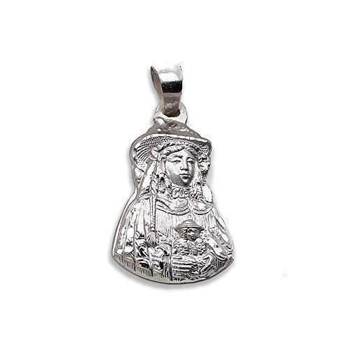 Mealla Religiosa - Medalla Virgen del Rocío Pastora Silueta 18x25 mm. Plata de Ley 925 milésimas.