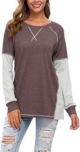 Herdress - Camiseta de manga larga para mujer, estilo casual, con costura decorativa, color de contraste caqui S