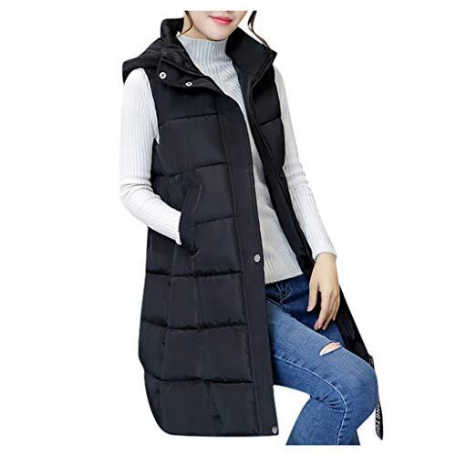 Lulupi Damen Weste Winter Warm Lange Ärmellose Steppweste Daunenweste Frauen Elegant Winterjacke mit Kapuze Longweste Mantel Jacke Parka