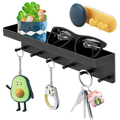 Colgador de Llaves,Estante Para Llaves con 6 Ganchos Negro,colgador llaves de Pared/Soporte Llaves Pared/Colgador De Llavescon para Oficina,Entrada,Cocina etc